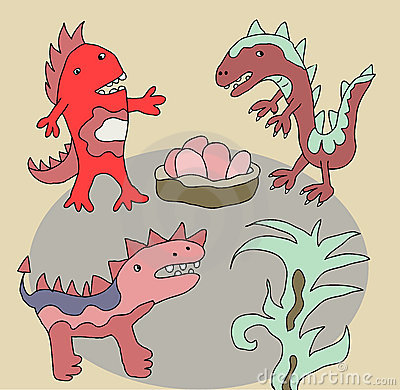 Funny dinos illustration