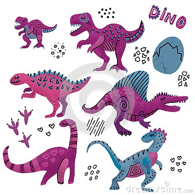 Funny dinosaurs collection.Cute childish characters in purple colors. 6 hand textured drawn dino with eggs. Dinosaurs set, Stock Photo