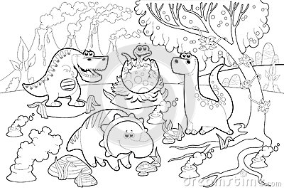 Funny Dinosaurs In A Prehistoric Landscape Black And