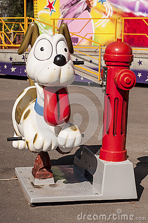 Funny dog in an amusement park