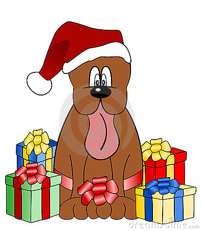 Funny dog illustration with christmas gifts