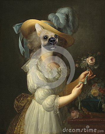 Free Funny Dog, Marie Anoinette, Surreal Oil Painting Royalty Free Stock Images - 121823779