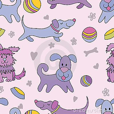 Funny dogs seamless pattern