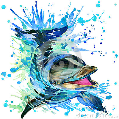 Free Funny Dolphin With Watercolor Splash Textured Royalty Free Stock Photos - 55064418