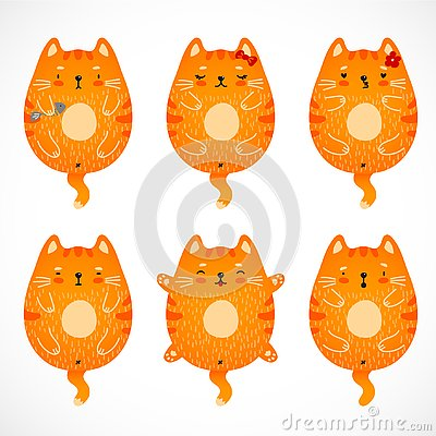 Doodle red cats set Vector Illustration