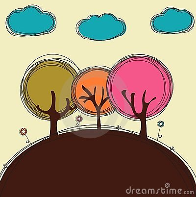 Funny doodle trees and clouds