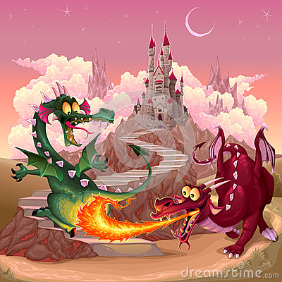 Funny dragons in a fantasy landscape with castle Vector Illustration
