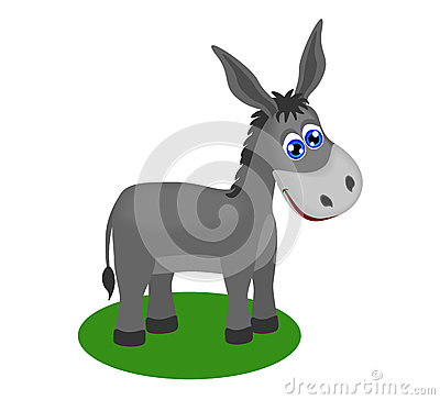 Funny drawing of cute donkey