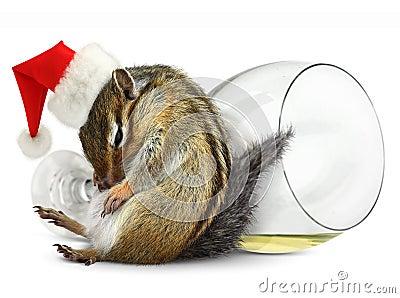 Funny drunk chipmunk dress santa hat