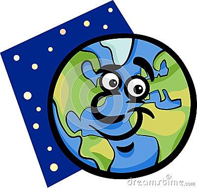 Funny earth planet cartoon illustration