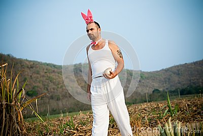 Funny Easter Rabbit Walking Across The Field