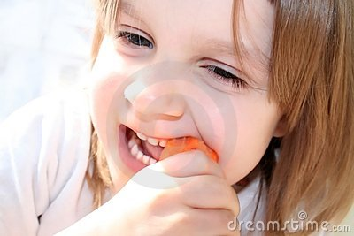 Funny eating carrot