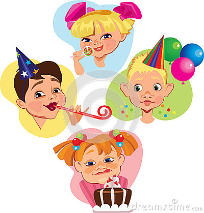 Funny face characters of kids on subject birthday
