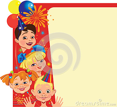 Funny face of kids on celebrate card