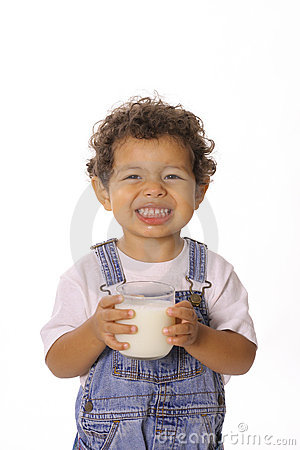 Free Funny Face Toddler With Glass Of Milk Stock Image - 14740921