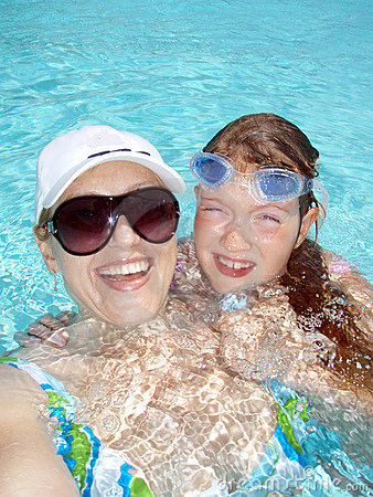 Funny family in the pool