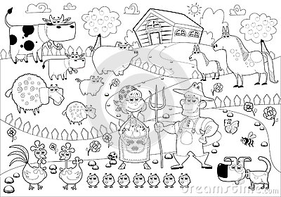 Funny Farm Family In Black And White Stock Photography