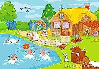 Funny farm and playing animals. Children illustrat