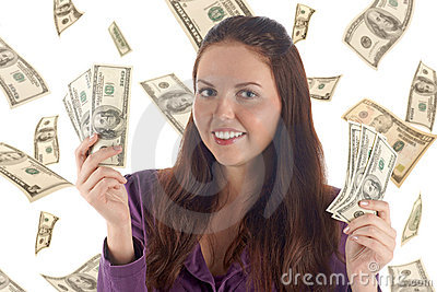 Funny female with banknotes (dollars background)