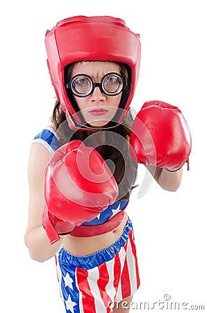 Funny female boxer