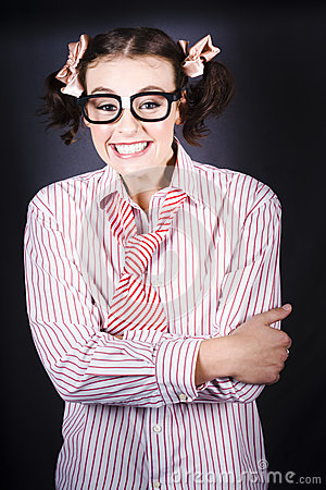 Funny Female Business Nerd With Big Geeky Smile
