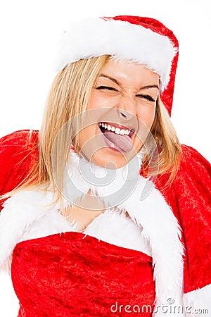 Funny female Santa face
