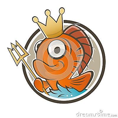 Funny fish king cartoon