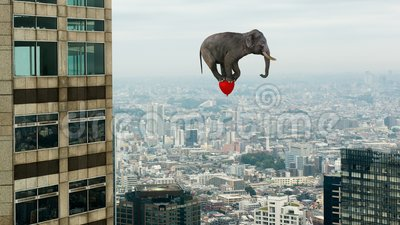 Funny Floating, Flying Elephant, Red Balloon. A funny and surreal elephant is flying above an urban city by riding on a red balloon