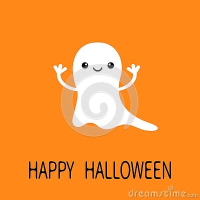 Free Funny Flying Baby Ghost. Smiling Face. Happy Halloween. Greeting Card. Cute Cartoon Character. Scary Spirit. Kids Collection. Oran Stock Photos - 77118083
