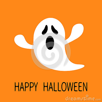 Free Funny Flying Ghost. Screaming Face. Happy Halloween. Greeting Card. Cute Cartoon Character. Scary Spirit. Baby Collection. Orange Stock Photos - 76885393