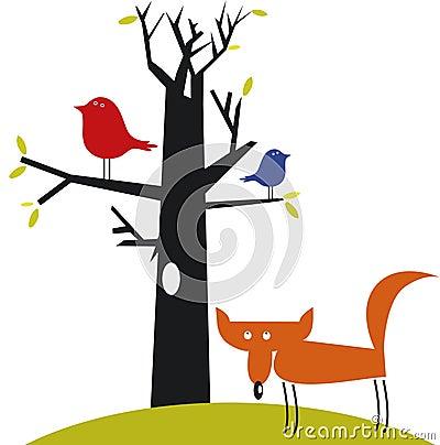 Funny fox and birds