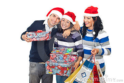Funny friends laughing and holding Xmas gifts