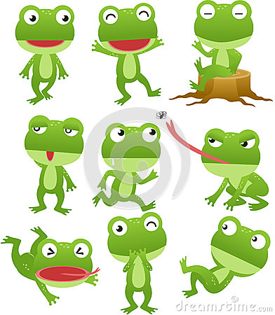 Funny frog cartoon collection