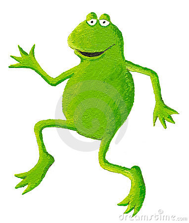 Funny frog dancing on the left