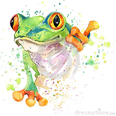 Funny frog T-shirt graphics. frog illustration with splash watercolor textured background. unusual illustration watercolor frog fa Cartoon Illustration