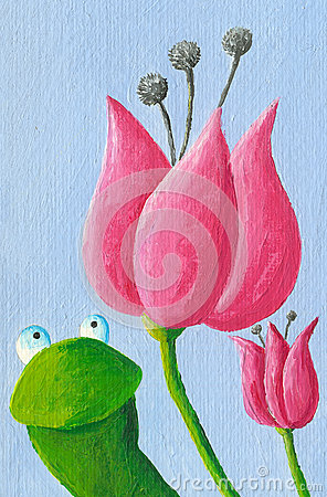 Funny frog and tulips