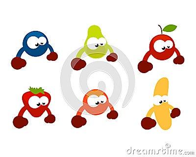 Funny fruit characters cartoon