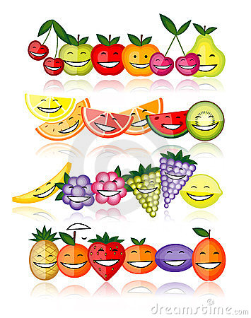 Funny fruits smiling together