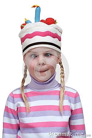 Funny girl in cap-cake