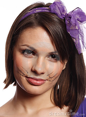 Funny girl with cat whiskers