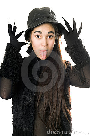 Funny girl in gloves with claws. Isolated