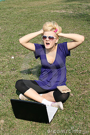 Funny girl with a laptop