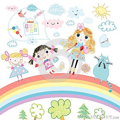 Free Funny Girl On The Rainbow Royalty Free Stock Photo - 20952745