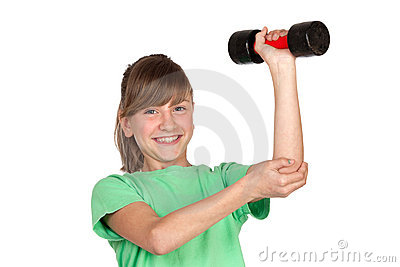 Funny girl playing sports with weights