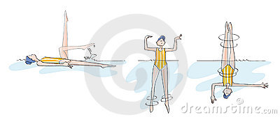Funny girl practicing synchronized swimming