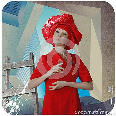 Funny girl in red dress