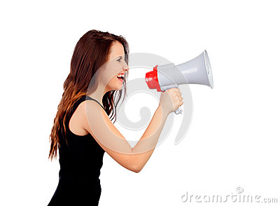 Funny girl shouting with a megaphone