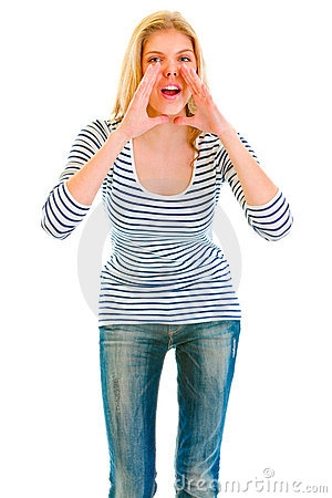 Funny girl shouting through megaphone shaped hands