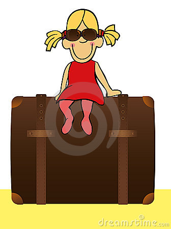 Free Funny Girl Sitting On The Suitcase Royalty Free Stock Image - 19692656