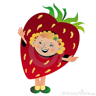 Funny girl in strawberry suit